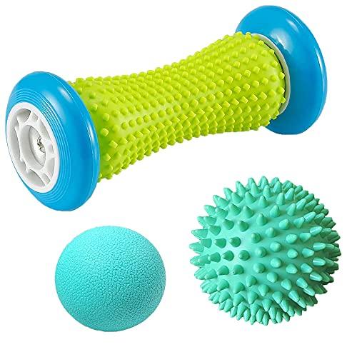 Massageball Fußmassage Set, 3 Stück Fußmassageroller und Massagebälle für Plantarfasziitis Igelball & Bälle Set Stressreduzierung und Entspannung