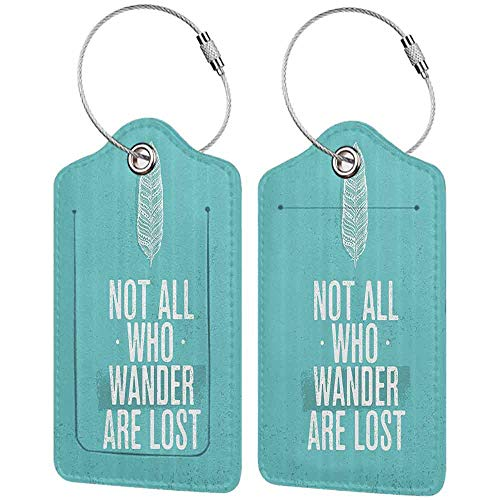 Multicolor Luggage tag Adventure Not All Who Wander are Lost Words of Wisdom Boho Chic Feather Grunge Look Hanging on The Suitcase Turquoise White W2.7' x L4.6'
