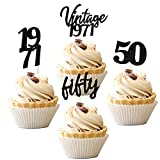 24 PCS Vintage 1971 Cupcake Toppers Cheers to 50 Fabulous Fifty Cupcake Picks 50th Birthday Wedding Anniversary Party Cake Decorations Supplies Black