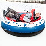ROYI Snow Tube 49 Inch Durable Large Inflatable Snow Sled with Reinforced Handle 0.9mm Heavy Duty Cool Star Sledding Tube for Kids and Adults Winter Outdoor Fun