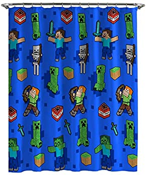 Jay Franco Minecraft Creeper TNT Shower Curtain & Easy Care Fabric Kids Bath Curtain Features Alex Steve Skeleton & Zombie  Official Minecraft Product