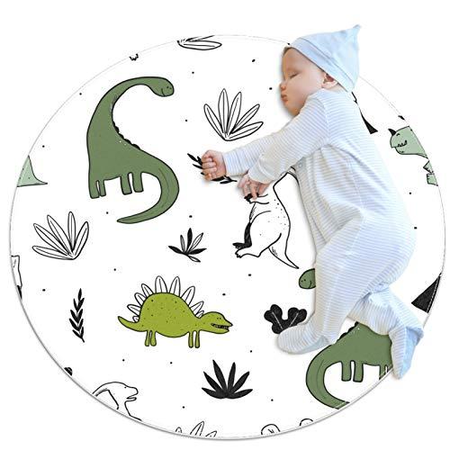 Alfombra redonda de dinosaurio dibujada a mano para sala de estar, dormitorio, estudio, sala de juegos, decoración del hogar, alfombra con respaldo antideslizante (80 x 80 cm)