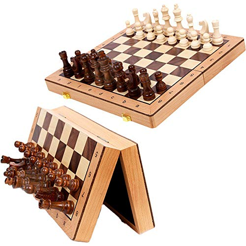 Tablero de Ajedrez Plegable con Fichas, 3 EN 1 Ajedrez y Damas Backgammon en Estuche con Portátil de Tablero Plegable