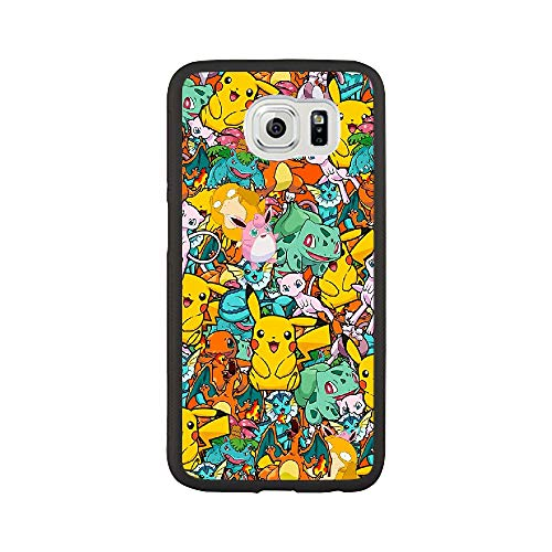 RO&CO Cover Samsung Galaxy S6 Case Pokémon Pikachu Black Silicone Soft Case B-008
