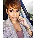 Beauart Short Human Hair Wigs Ombre Black with Light Brown hair Bang 100% Brazilian Remy Human Hair Wigs with Bangs for Women with 2 Free Wigs Caps