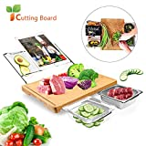 2020 New Extensible Bamboo Cutting Board with 5 Containers Tray Drawer Storage for Meal Prep Station Cutting Board - Easy Food Prep, Meat, Vegetables, Fruits, Crackers & Cheese 1 set
