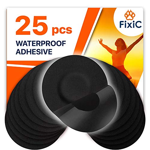 Fixic Freestyle Adhesive Patches 25 PCS – Good for Libre – Enlite – Guardian – NO Glue in The Center of The Patch – Pre-Cut Back Paper – Black Color – The Best Fixation for Your Sensor!
