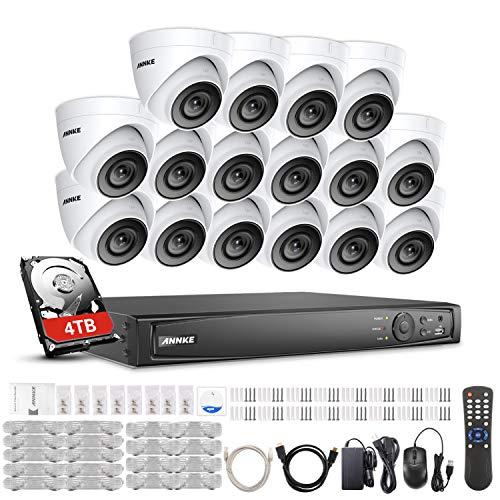 ANNKE POE Überwachungssystem,16CH Überwachungskamera Set System 4TB HDD und 4K NVR mit 16 Dome PoE IP 66 Kamera Set für Haus, Innen, Außen,Plug & Play CCTV Videoüberwachung