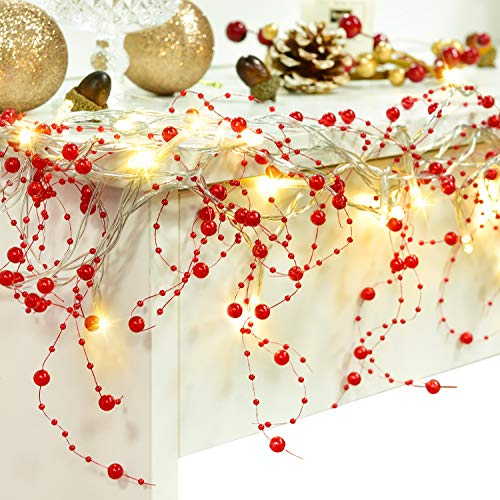 Artiflr 11FT Christmas Berry Beaded Garland with 30LED String Lights for Christmas Decorations, Christmas Garland for Fireplace Mantel Indoor Outdoor Christmas Decoration, Christmas Warm White Lights