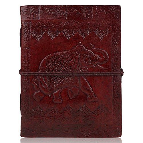 Zap Impex - taccuino, diario, quaderno per schizzi con pagine bianche, fatto a mano, in pelle, libro bianco con elefante (18x 13 cm)