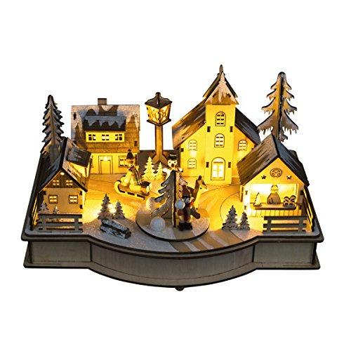 LED Holz Weihnachtsmarkt mit Musik