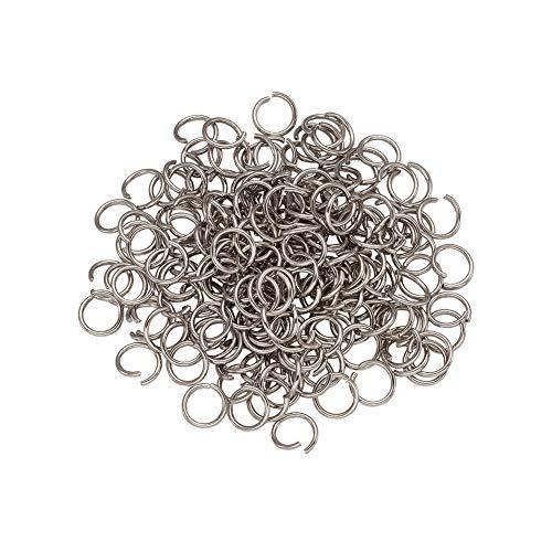 Cheriswelry 1000 anillos abiertos de acero inoxidable 8 mm calibre 18 anillo de bloqueo de metal redondo para joyería artesanía fabricación