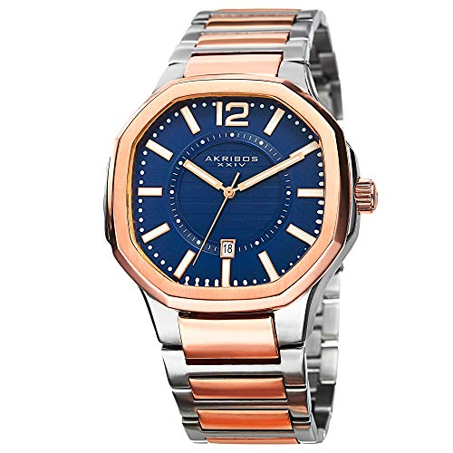 Akribos XXIV Octagonal Men's Watch - Layered Blue Dial With Date Window On Two-Tone Stainless Steel Bracelet - AK712
