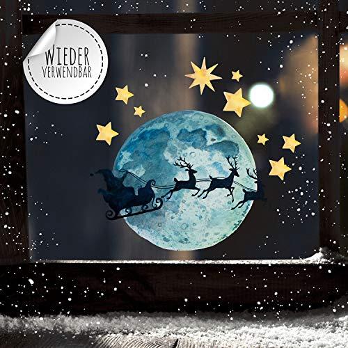 ilka parey wandtattoo-welt Fensterbilder Weihnachten Fensterbild Vollmond Weihnachtsmann Sterne wiederverwendbar Fensterdeko Winter Kinder bf90 - ausgewählte Größe: *2. Vollmond Weihnachtsmann*