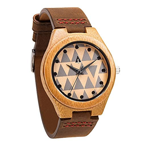 Treehut Men's Wooden Bamboo Watch with...