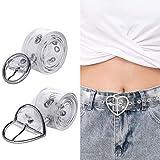 ANSUG Cinturón transparente para mujer, 2 Piezas Moda Mujeres Cinturón Anchos Cinturón de hebilla redonda para damas Niñas