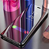 Lejaao Mobile Flip Cover for Vivo Y95,Mirror Clear View Look, Magnetic Video Stand, Shockproof, Electroplate Mirror with 360 Protection Case Cover - Black