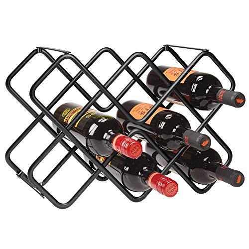 LLDKA Wijnfles, vrijstaand, voor dranken en wijnflessen, mooie metalen fles voor drie planten met ruimte voor 8 flessen, zwart