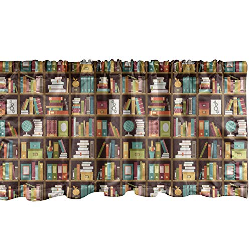 """Lunarable Educational Window Valance, Books on Box Formed Bookshelves Volume Encyclopedia and Stationery Elements, Curtain Valance for Kitchen Bedroom Decor with Rod Pocket, 54"""" X 12"""", Brown"""