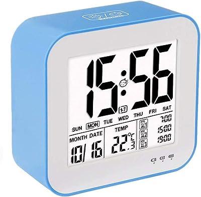 ZOUQILAI USB Recargable Reloj de Alarma Digital Pantalla Temperatura 3 Alarma separada Reloj Digital luz de