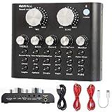Mini mezclador de placa de sonido con cambiador de voz y efectos, Bluetooth acompañamiento, mezclador de audio para teléfono móvil, PC, portátil para transmisión en vivo de grabación de música