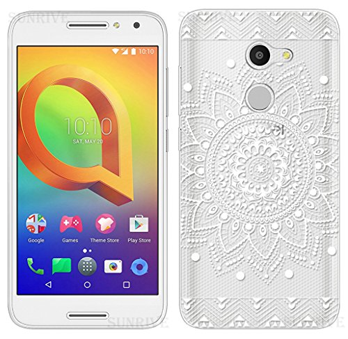 Sunrive Alcatel A3 Hülle Silikon, Transparent Handyhülle Schutzhülle Etui Case Backcover für Alcatel A3(TPU Blume Weiße)+Gratis Universal Eingabestift