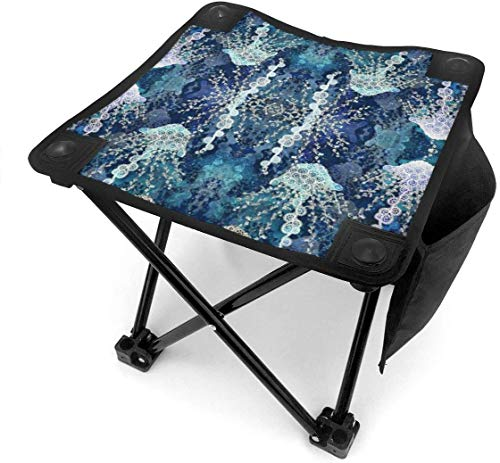 liang4268 Camping Hocker Jellyfish in Deep Sea Folding Camping Stool Small Portable Camp Chair for Fishing Hiking Gardening Beach with Carry Bag.