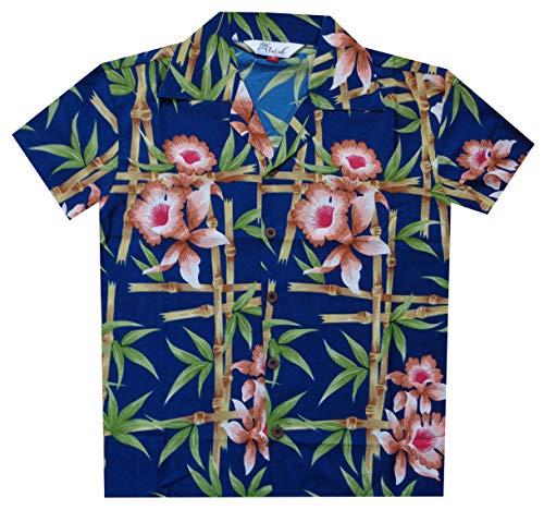 Alvish Camisas Hawaianas para niños con Flores de bambú, Playa, Aloha Casual, Fiesta de Vacaciones Azul Azul M