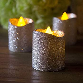 Silver Flameless Votive Candles,Silver Glitter Battery Operated Flickering Fake LED Tea Lights for Christmas Wedding,Party,Anniversary Decorations,Pack of 12,Pack of 12,