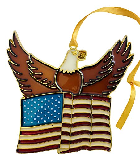 Westmon Works USA Patriotic Ornament Eagle with American Flag Christmas Tree Decoration