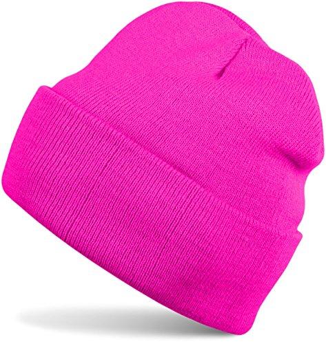 styleBREAKER klassische Beanie Strickmütze für Kinder, Feinstrick Mütze doppelt gestrickt, Kindermütze 04024030, Farbe:Pink