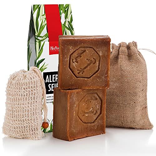 Natura Germania® Aleppo Seife Set 2x 60% Olivenöl, 40% Lorbeeröl +Sisal Seifensäckchen+Seifenbeutel - Haarseife, Rasierseife, geeignet für unreine Haut, Plastikfrei, Ohne Zusatz von Chemie