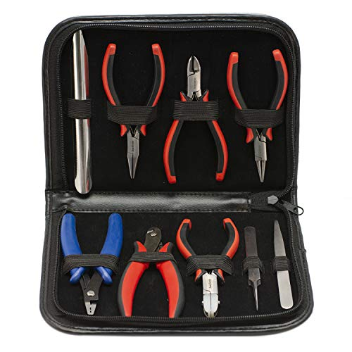 The Beadsmith Deluxe Ergo 9-Piece Tool Set, Jewelry Making Kit with Pliers and Tweezers