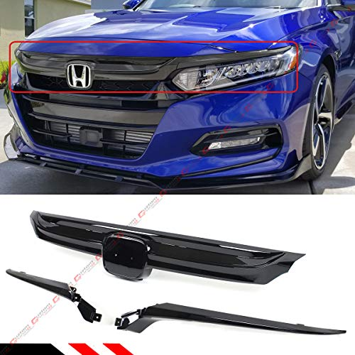 Glossy Black Sport Style Replacement Front Grille Base With Accent Garnish Compatible with 2018-2020 10th Gen Honda Accord Sedan Model