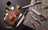 Wakoli EDIB 5er Damastmesser Profi-Set mit Holzbox, VG-10, Klingen von 8,50 cm bis 20,00 cm Länge, japanisches Damaszener Küchenmesser Set mit Pakkaholzgriffen - 4