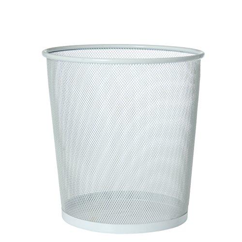 PAME 88506 – Poubelle en métal Grille, 28 x 26 cm, Couleur : Blanc