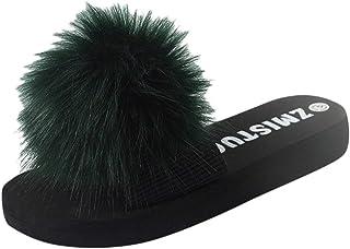 DAIFINEY Damespantoffels, comfortabele pantoffels, knuffelig, thuis, binnen en buiten, vrije tijd, slip-on schoenen, platt...