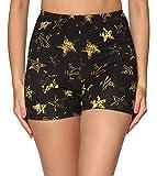 Merry Style Leggins Cortos Malla Deportiva Short Mujer MS10-407 (Negro/Estrellas Amarillas, S)