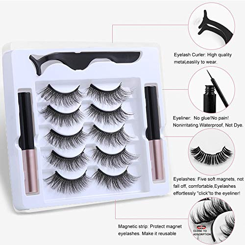 UNICK Hot Sale Long-lasting Waterproof Handmade Natural Long With Tweezer Magnetic Eyeliner Lash Extension Magnetic Eyelashes(Y-25) 5