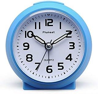 Plumeet liten klocka, icke-tickande väckarklocka med snooze och nattlampa, söt färg för barn, stigande ljudlarm, lätt att ...