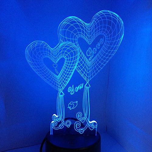 LEDMOMO 3D Illusion LED Night Light, Love Heart Shapes 7 colores que cambian Touch Switch Lámpara de mesa USB para regalos de aniversario Regalo del día de los enamorados (corazón doble)