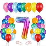Globo cumpleaños 7 año, Globo 7 Año, Decoración de cumpleaños 7 er Colores, Globos Numeros 7 para Fiestas, Number Balloons, Set Globos Decoracion Bautizo Comunión Fiesta Cumpleaños Party