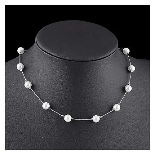 zlw-shop Collar de Mujer Moda Pearl Colgante Gargantilla Collar de Boda Femenino Partido Clavícula Cadena Accesorios Regalos Regalos Joyería Collares Pendientes (Metal Color : Silver)