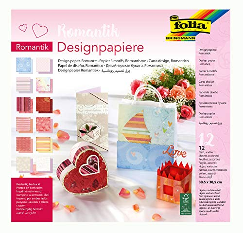 folia 10349 - Designpapier Block Romantik, ca. 30,5 x 30,5 cm, 190 g/qm, 12 Blatt sortiert in 12...