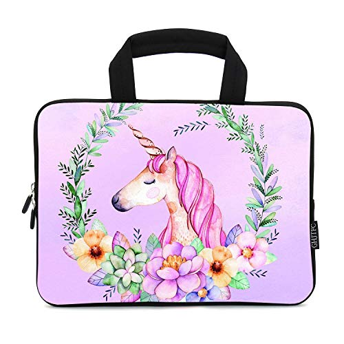 12 Inch Laptop Sleeve Carrying Bag Protective Case Neoprene Sleeve Tote Tablet Cover Notebook Briefcase Bag with Handle for Women Men(Purple Unicorn,12')