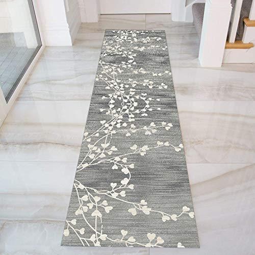 GJIF Grigio Tappeto Corridoio Passatoia, Design Moderno Morbido Ingresso Tappeti for Cucina Scala Sala, Larghezza 60cm/ 80cm/ 90cm/ 100cm/ 120cm(Size:90x250cm)