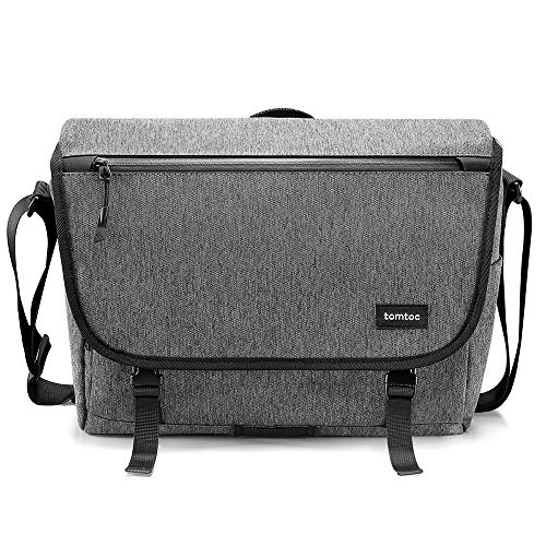 tomtoc Laptop Shoulder Bag, Messenger Bag Multi-Functional Travel Bag Fits Up to 13.5 Inch Laptop with RFID Pocket, 13 Inch MacBook Pro/Air, Dell XPS 13, Surface Book 2, Ultrabooks, Chromebooks, Gray