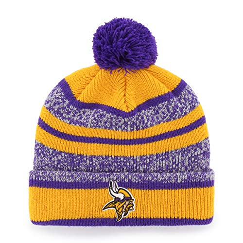 OTS NFL Minnesota Vikings Men's Huset Cuff Knit Cap with Pom, Team Color, One Size
