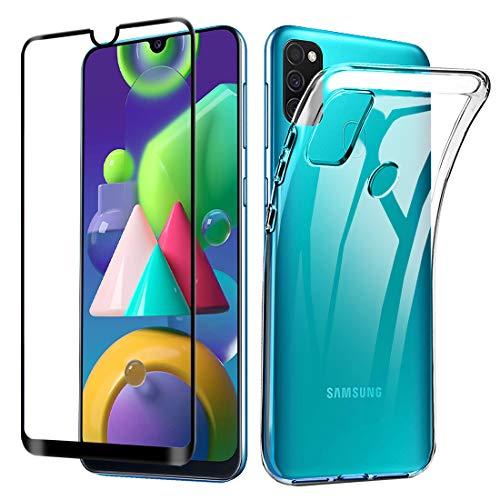 Lifeacc für Samsung Galaxy M30s Hülle, Samsung Galaxy M21 Hülle und 3D Panzerglas Bildschirmschutzfolie, Ultra Dünn Silikon Transparent Samsung M30s/M21 Schutzhülle