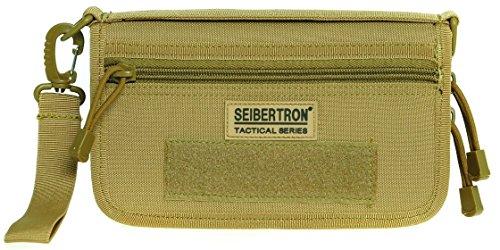 Seibertron Tactique Molle Compact BDU Grand Wallet Carry Case Holder de téléphone Portefeuille Pochette (Kaki)